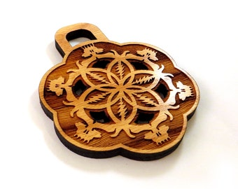 Grateful Dead Inspired Wooden Pendant made of Sustainable Oak - Large, 100% natural wood bling
