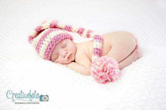 Crochet long tail pixie elf munchkin hat. Any colour combo. Newborn. Great photo prop. Uk seller