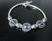 Lavender Crystal Beaded Frame Flexible SterlingBangle Bracelet