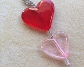 Pink red heart Valentine tween silver necklace