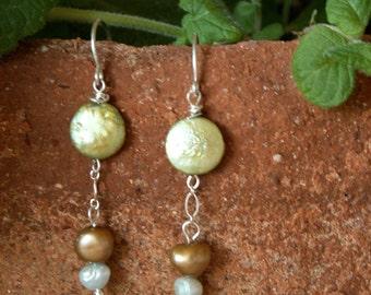 Pearl Earrings, Freshwater - Light Green