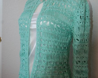 Crochet Cardigan Broomstick Lace in Soft Green Pima Cotton & Silk Blend Size Sm/Med