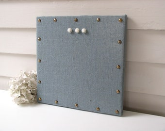 Organizer - Burlap Memo Board - Slate Blue Fabric MAGNETIC Bulletin Board 12 x 12 inches with Hardwood and Brass Upholstery Nail Head Tacks