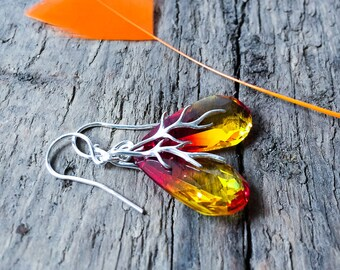 Crystal Earrings, Drop Earrings, Orange Yellow Earrings, Swarovski Earrings, Summer Jewelry, Small Earrings, Gift Idea For Her, Swarovski
