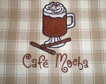 Cafe Mocha Embroidered Kitchen Towel Brown Beige Plaid Coffee Gift Idea Home Decor