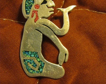 Taxco Sterling Silver and Inlay Mayan Warrior Brooch