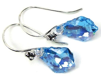 Swarovski Crystal Earrings, Aquamarine Baroque Swarovski Crystal Earrings, Wedding Earrings, Blue Aquamarine Earrings