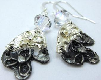 Swarovski Crystal and Silver Flower Art Metal Earrings