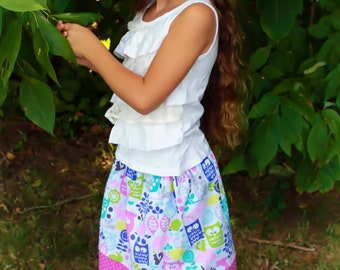 Michael Miller Forest Life In Lavender Skirt  (18 mos, 2T, 3T, 4T, 5,6,7)