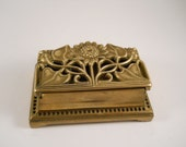 Great Brass Stamp Holder with hinge and flowers on lid desk