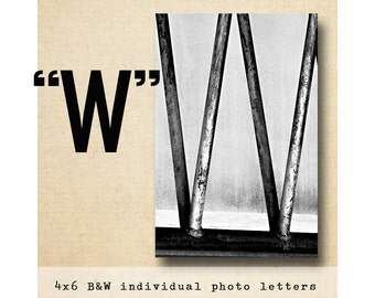 Letter W Alphabet Photography  Black and White 4x6 Letter Photo