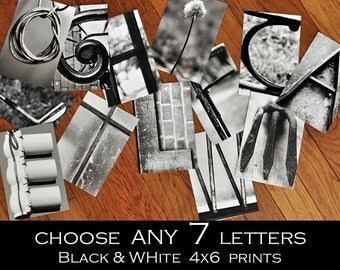 Alphabet Photography 4x6 Black and White Individual Photo Letters  ANY 7 LETTERS, sign letter