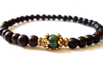 Ebony Mala Bracelet, Black Mala Beads, Turquoise Howlite, Brass Wrist Mala