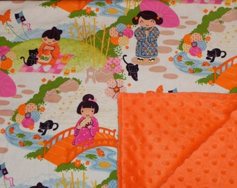 Baby Blanket - Asian girls and cats in Pink, Green, Cream, Orange and blue - Orange Minky
