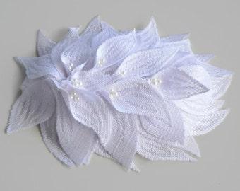 Bridal Cocktail Hat Modern Wedding Fascinator Headpiece Lace Leaves Handmade, OOAK. Unique Design.