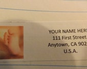 Newborn Baby Foot Return Address Label