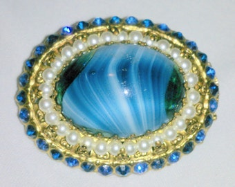Vintage Blue Glass and Rhinestone Statement Brooch