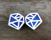 Geometric Pattern Silver and Titanium Earrings
