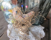 "Bird Nest ""Lil Scrapper"" Pin Keep Pin Cushion Wooden Spool Up cycled Repurposed"