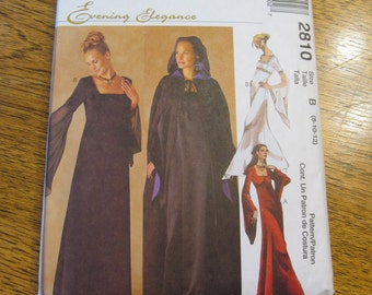 GOTHIC Empire Line Gown with Angel Sleeves & Hooded Cloak - Size 10 - 12 - 14 - UNCUT Sewing Pattern McCalls 2810