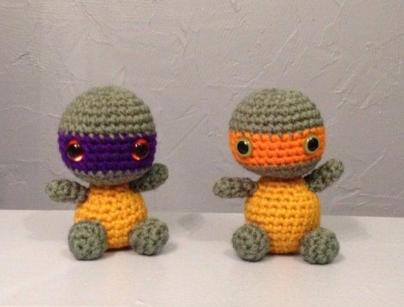 Ninja Turtle Crochet Amigurumi : Baby Ninja Turtle Crocheted Doll Amigurumi turtle by meddywv