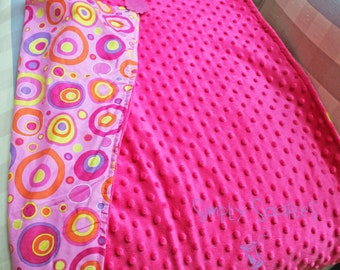 Minky and Cotton Baby Blanket - Hot Pink