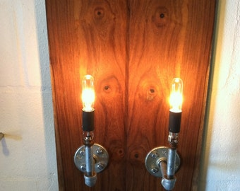 Rosewood Industrial Sconce Pair