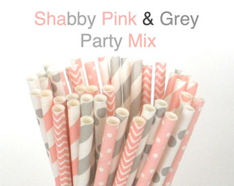 Pink and Grey Paper Straws Pastel Paper Drinking Straws Cake Pop Sticks Mason Jar Paper Straws Wedding, Birthdays