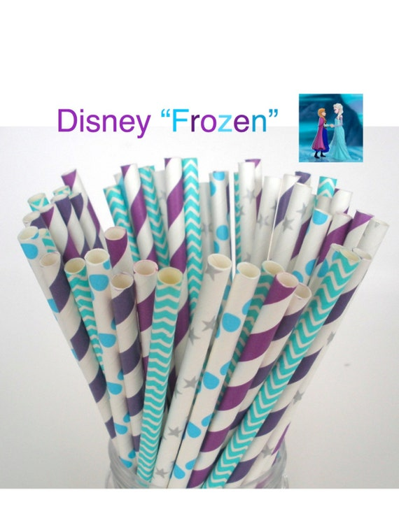 "Paper Straws Disney's ""FROZEN"" Party Mix Princess Anna Paper Drinking Straws Cake Pop Sticks Mason Jar Paper Straws Wedding, Birthdays"