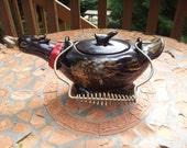 Vintage Handpainted Brown Glaze Red ware Goose Teapot