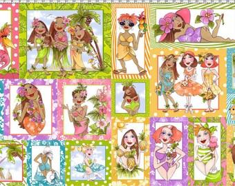 "Loralie Harris Tropical Beach Ladies Fabric Panel 23 x 44"""