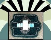 NEEDLE FELTED BROOCH Deco Peruvian Blue Opal Wearable Art Eco