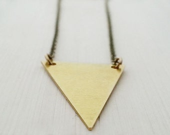 Triangle Necklace. Brass Triangle. Geometric Necklace. Triangle Pendant. Layering Necklace. Modern Trendy