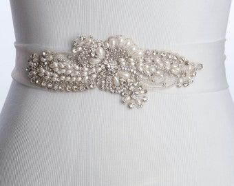 Curry wedding belt, Bridal sash, wedding dress sash, wedding sash, rhinestone beaded sash with ivory pearls