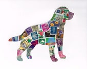 World Traveler Dog Original Upcycled Postage Stamp Collage
