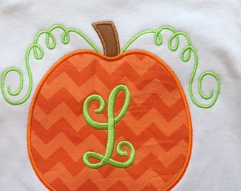 Monogrammed Pumpkin Custom boutique appliqued monogrammed personalized, boys, girls, t shirt, one piece w/snaps, thanksgiving, fall