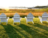 Adirondack chairs at sunset in Biddeford Pool  scenic hi res digital image