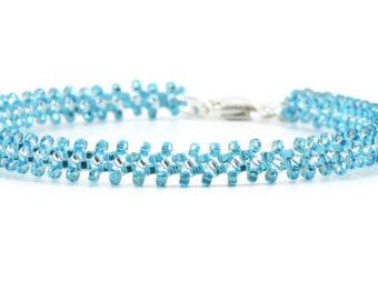 Capri Blue Bracelet - Layering Bracelet - Seed Bead Jewelry - Beaded Bracelet - Daisy Chain Bracelet - Beadwork Jewelry