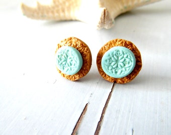 Turquoise stud earrings, floral gold mint  studs - FREE SHIPPING