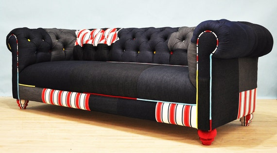 jean patch denim chesterfield patchwork sofa. Black Bedroom Furniture Sets. Home Design Ideas