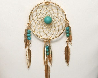 Dream Catcher Turquoise & Gold Dreamcatcher Necklace with Feathers large
