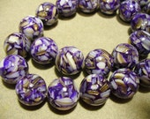 Mother of Pearl  Resin Beads Round Purple 14MM