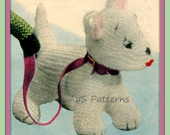 PDF Knitting Pattern for Westie Dog Soft Toy. Instant Download