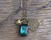 Sagittarius Antique Brass Sagittarius Zodiac Charm with Emerald Green Rhinestone and Vintage Brass Bell Necklace