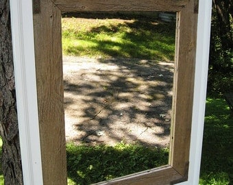 SOLD Custom made for Dave--Handcrafted Large Rustic Barnwood Mirror White Trim no.1406