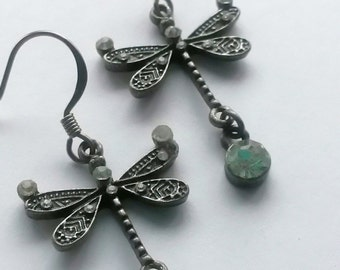 Antiqued Silver Dragonfly Earrings with Crystal Accents