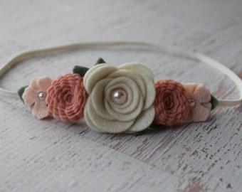 Vintage Pink and Wheat Mixed Flower Garland Headband-  Wool Felt Flower Headband- Shabby Chic Wedding Flower Girl Headband