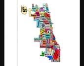 Chicago Neighborhoods Map Print Poster Neightborhoods