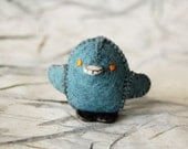 Teal Blue Felted Baby Chicken Toy  -- Ecofriendly Small Handmade Felt Pure Wool Animal -- For all Ages Cute Felt Toy