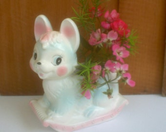 Vintage Bunny Planter Vase / Baby Gift Vase / Bunny Rabbit  Floral Container
